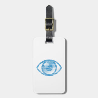 Blue Letterpress Style Eye-Con Bag Tag