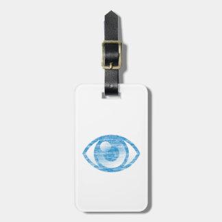 Blue Letterpress Style Eye-Con Bag Tag