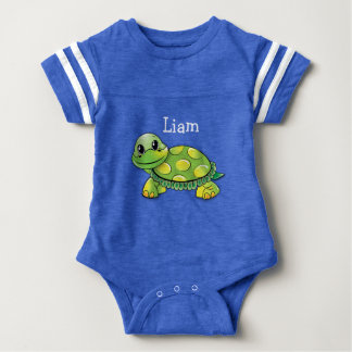 """Blue """"Liam"""" Turtle Baby Tee, Personalize it! Baby Bodysuit"""