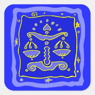 Blue Libra Square Sticker