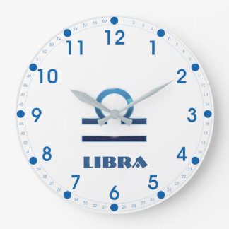 Blue Libra Zodiac Sign On White Large Clock