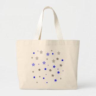 Blue, light blue and grey stars pattern jumbo tote bag