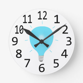 Blue Light Bulb Custom Wall Clock