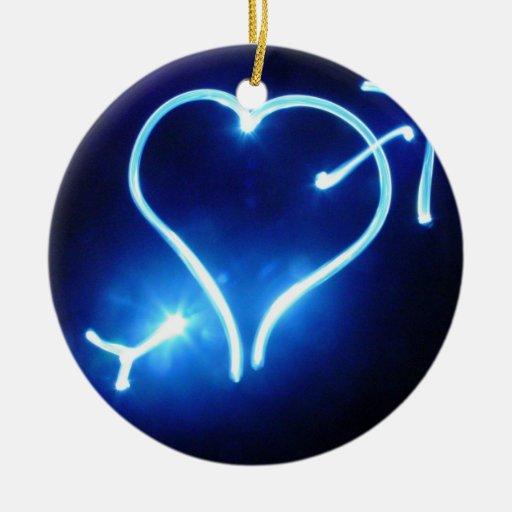 Blue Light Heart  Ornament