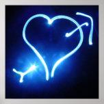 Blue Light Heart  Poster