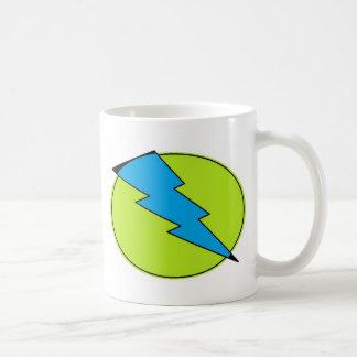 Blue lightening, bolt, nerd design mug