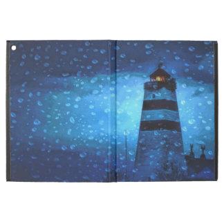 Blue lighthouse a dark rainy night