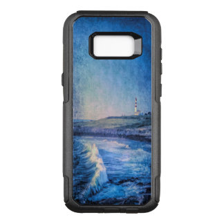 Blue lighthouse and ocean waves OtterBox commuter samsung galaxy s8+ case
