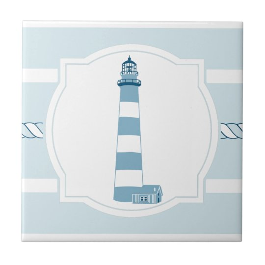 Blue lighthouse nautical stripes ceramic tile