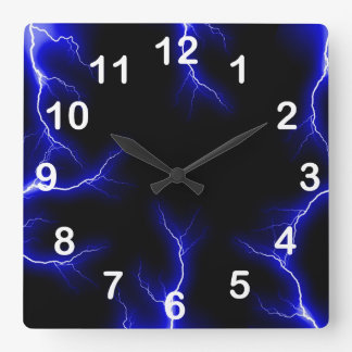 Blue Lightning  Numbered Wall Clock
