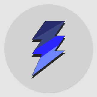 Blue Lightning Thunder Bolt Classic Round Sticker