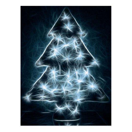 Blue Lights Illuminate a Christmas Tree Postcard
