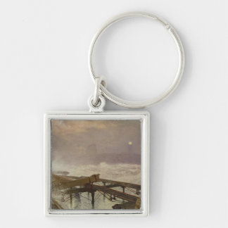 Blue Lights, Teignemouth Pier - Lighting the Lamps Silver-Colored Square Key Ring