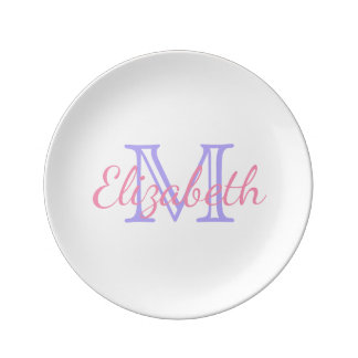 Blue Lilac and Happy Pink Monogram Porcelain Plate