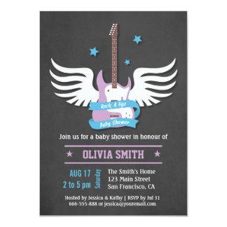 Blue Lilac Guitar Rock a Bye Baby Shower 11 Cm X 16 Cm Invitation Card