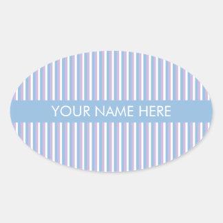 Blue Lilac White Stripes blue Oval Stickers