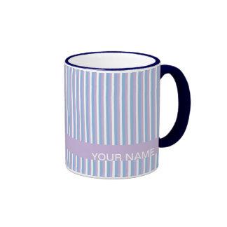 Blue Lilac White Stripes lilac Ringer Mug