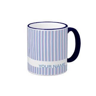 Blue Lilac White Stripes white Ringer Coffee Mug