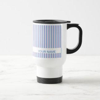 Blue Lilac White Stripes white Stainless Steel Travel Mug