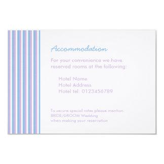 "Blue Lilac White Stripes white Wedding Enclosure 3.5"" X 5"" Invitation Card"