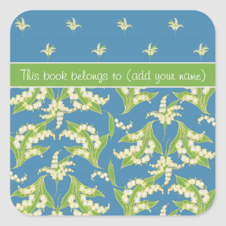 Blue Lily-of-the-Valley Floral Stick-on Bookplates Square Sticker