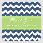 Blue Lime Chevron Thank You Wedding Favour Tags Square Stickers
