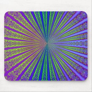 Blue Lime Green Purple Abstract Fractal Tunnel Mouse Pad