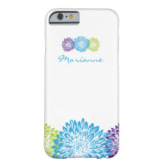 Blue, Lime Green, Purple Mums, Floral Monogram Barely There iPhone 6 Case