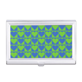 Blue / Lime Heart Pattern business card holder