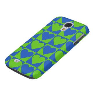 Blue / Lime Heart Pattern custom cases