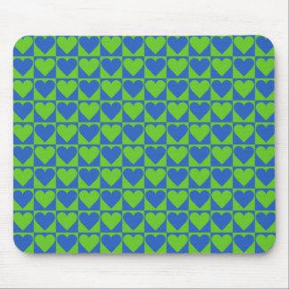 Blue / Lime Heart Pattern custom mousepad