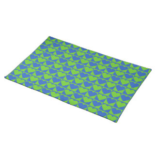 Blue / Lime Heart Pattern custom placemats