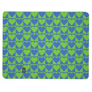 Blue / Lime Heart Pattern custom pocket journal