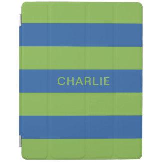 Blue & Lime Stripes custom name device covers iPad Cover