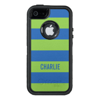 Blue & Lime Stripes custom name phone cases