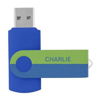 Blue & Lime Stripes custom name USB drives