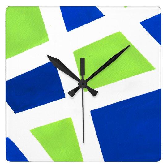 'Blue Lime White Geometric' Square Wall Clock
