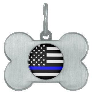 Blue Line US Flag Pet Name Tag