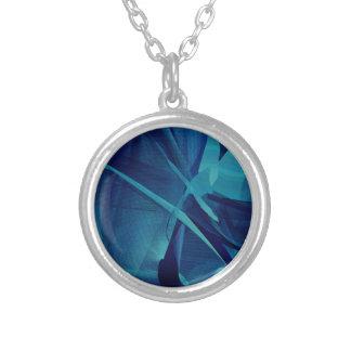 Blue Linear Mesh Round Pendant Necklace