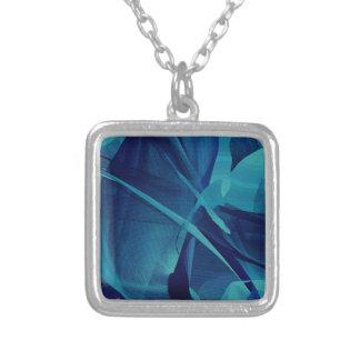 Blue Linear Mesh Square Pendant Necklace
