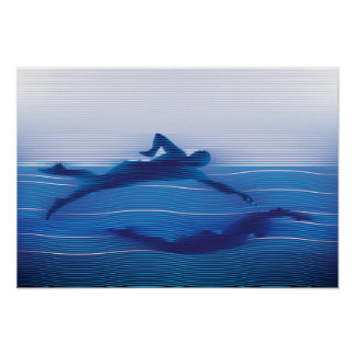 Blue Lined Swimmer Silhouettes Poster