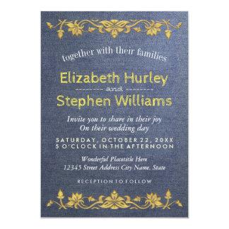 Blue Linen Gold Floral Embroidery Wedding Shower 13 Cm X 18 Cm Invitation Card
