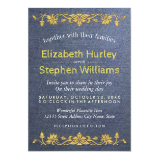 Blue Linen Gold Floral Embroidery Wedding Shower Card