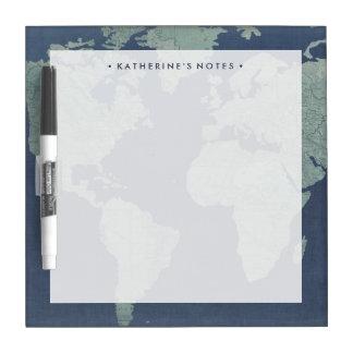 Blue Linen World Map Dry Erase Board