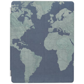 Blue Linen World Map iPad Cover