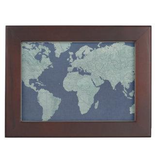 Blue Linen World Map Keepsake Box