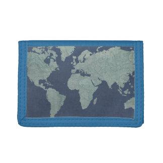 Blue Linen World Map Trifold Wallet