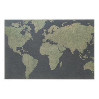 Blue Linen World Map Wood Print