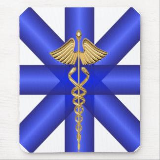 Blue Lines / Gold Caduceus EMT Symbol Mouse Pad