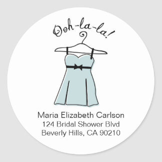 Blue Lingerie Bridal Shower Address Labels Classic Round Sticker